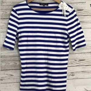Jones New York M Top Striped Cotton Lace Up